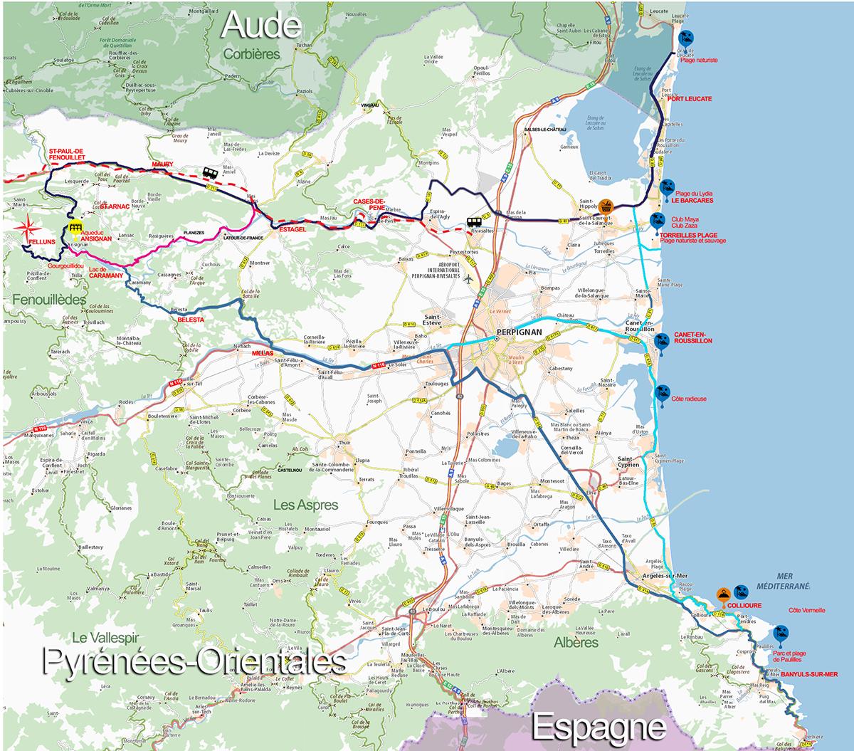 carte des plages des pyrénées orientales