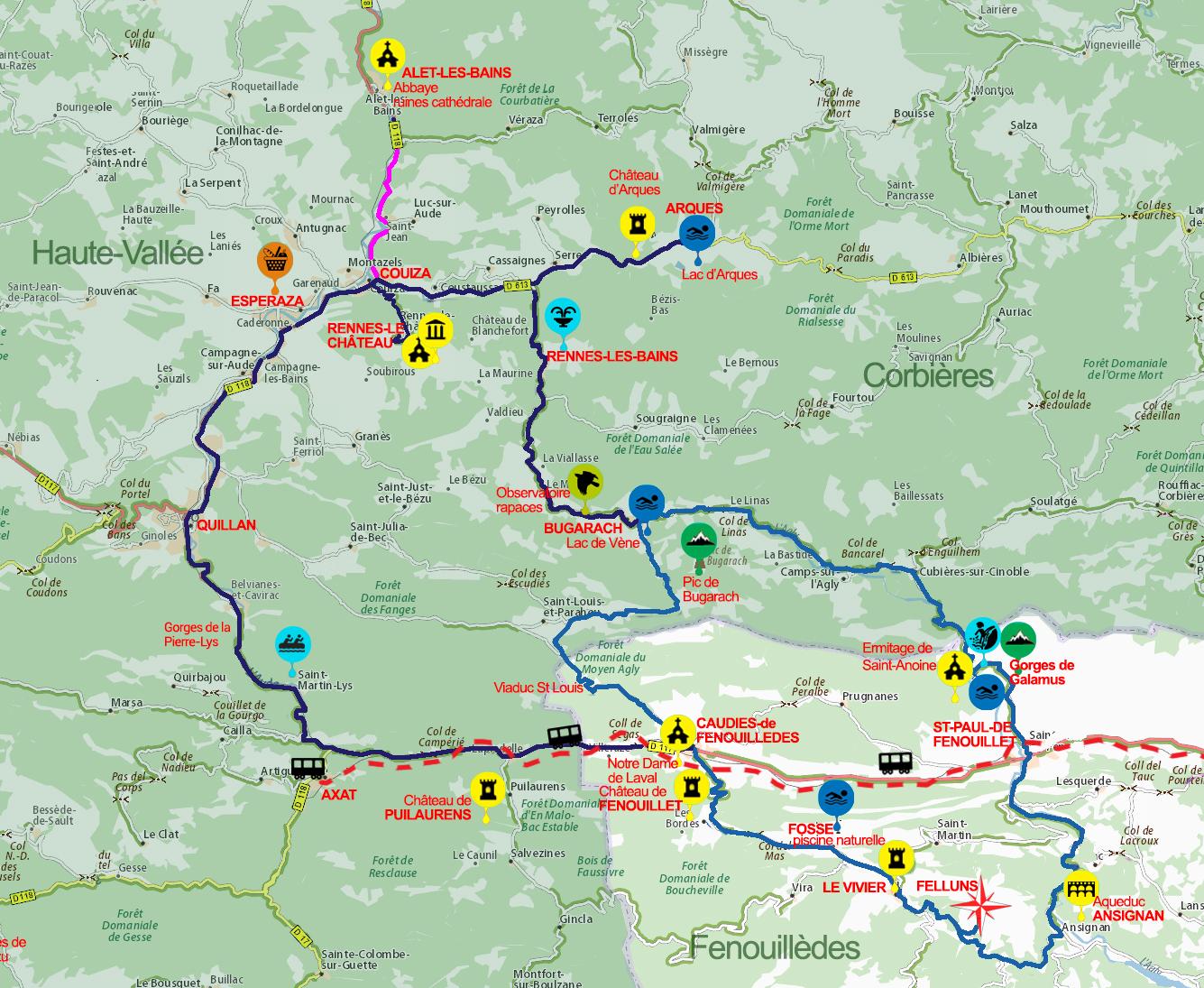 carte haute vallée de l'Aude